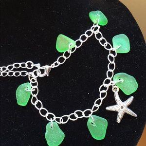 Jewelry - SEAGLASS Charm Bracelet- Kelly Green, Genuine, New